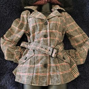 Plaid hooded pea coat with faux fur trim.